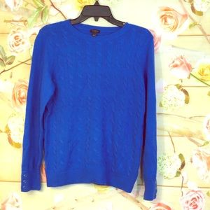 Talbots Blue Crewneck With Buttoned Sleeves